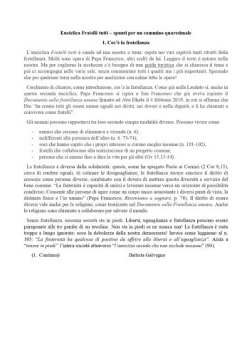 Meditazioni quaresimali sull'Enciclica Fratelli Tutti Schede 1-5