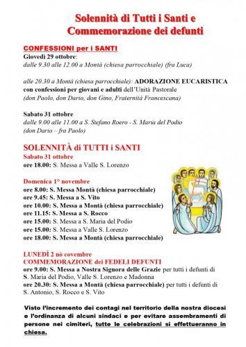 Festività dei Santi a Montà 2020